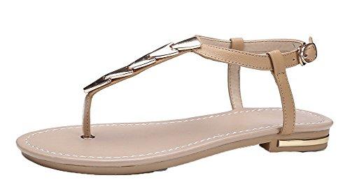 Sandalias Sólido Dividida Mini de Vestir Puntera Mujeres AgooLar PU Albaricoque Tacón pP00xw