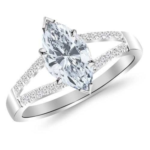 0.76 Carat t.w. Platinum GIA Certified Marquise Curving Split Shank Diamond Engagement Ring H/IF Clarity Center Stones.