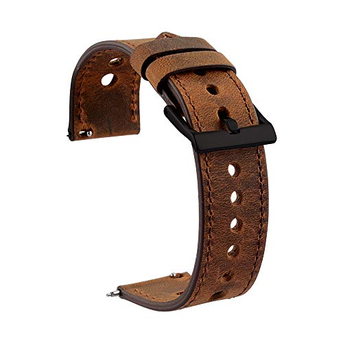 Cauwsai Leather Watch Band, Classic Quick Release Genuine Leather Watch Strap 20mm, Brown.
