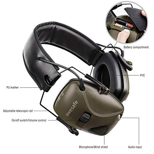 Casque de tir antibruit électronique awesafe GF01 Réduction du Bruit Maximisation du Son Sécurité Electronique Casque… 3