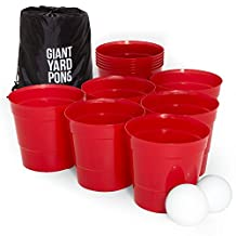 Giant Yard Pong Game - Complete Lawn Beer Pong Set with 12 Buckets, 2 Balls & Drawstring Carrying Bag