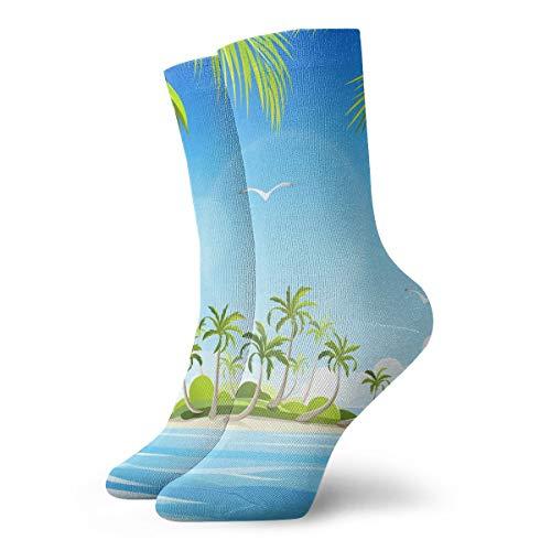 PengMin Small Island at Sea Casual Cotton Socks Unisex Sports Socks.