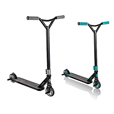 Globber Stunt Scooter GS 720 2 Wheel for Age 8+, Teens, Adults Wide Aluminum Deck Flex Carbon Rear Brake Reinforced Front Fork by Globber