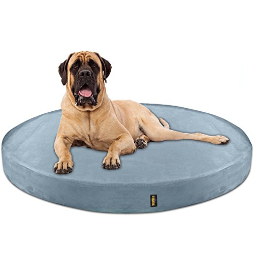 KOPEKS Deluxe Orthopedic Memory Foam Round Dog Bed - Jumbo XL - Grey