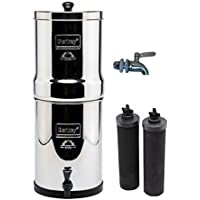 Travel Berkey Stainless Steel Water Filtration System w/ STAINLESS STEEL SPIGOT and 2 Black Filters by Berkey