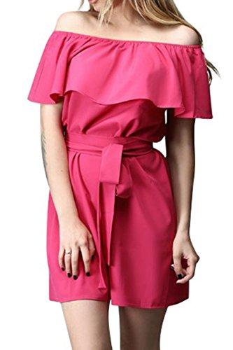 Abbigliamento Mini Simplee Tunica Fuori Donna Volant Rosa Rossa Spalla Abito In Cotone Sciolto qOBvrFqzx