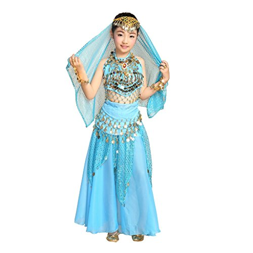 Dance About Costumes Belly (Pilot-trade Children Belly Dance Costume , Highlights Skirt , Hip Scarf , Veil Sets ( Blue ,)