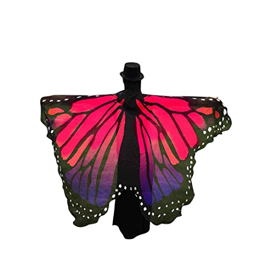 (Sothread Prop Soft Fabric Butterfly Wings Shawl Fairy Ladies Nymph Pixie Costume Accessory (Hot Pink))