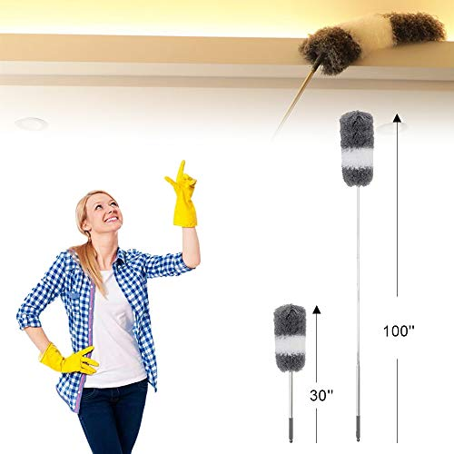 Telescoping Microfiber Duster,Ceiling Fan Duster, Retractable Stainless Steel Pole,Bendable Washable Head,30-100 inches,for Cleaning Roof, Blinds, Cobwebs,Ceiling, Corners,Furniture,Car,Skylight
