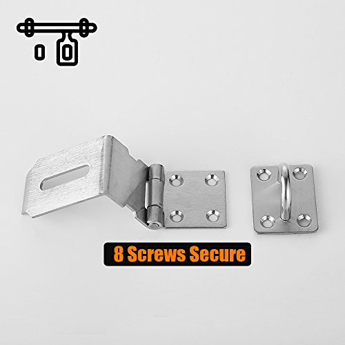 JQK Door Hasp Latch 90 Degree, Stainless Steel Safety Angle Locking Latch for Push/Sliding / Barn Door, 1.5mm Thickness Satin Nickel 2 Pack, 4 Inch by JQK (Image #4)