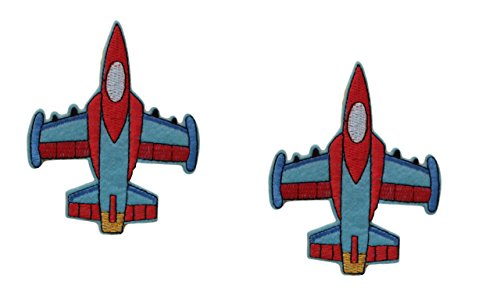 2 pieces AIRPLANE Iron On Patch Fabric Aeroplane Transport Fighter Jet Applique Motif Plane Decal 3.8 x 3.1 inches (9.5 x 7.8 cm)