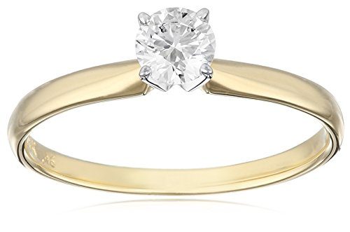 IGI Certified 18k Yellow Gold Classic Round-Cut Diamond Engagement Ring (1/2 carat, H-I Color, SI1-SI2 Clarity), Size 8 by Amazon Collection