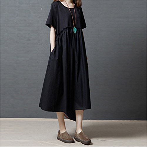 Womens Dresses Clearance Sale! Women's 3/4 Sleeve Casual Loose Cotton Linen Soild High Line Long Dress Daily by ILUCI Womens Dresses (Image #3)