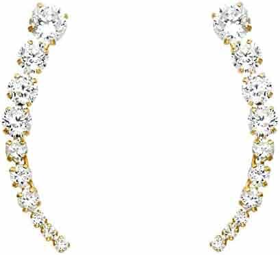 ae00913d0 Ioka - 14K Yellow Gold White OR Red Round Cut CZ Ear Crawler - Cuff Earrings