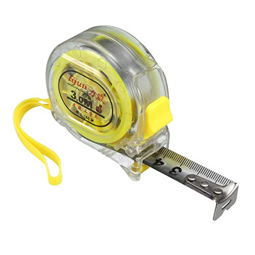 uxcell 10FT Long Measuring Tape Plastic Round Shell Retractable Measure Tape Clear