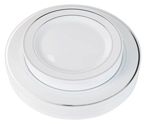 40 Silver Line Plastic Plates (20-dinner 20-dessert) Set Premium Heavyweight Plastic Wedding Like China…