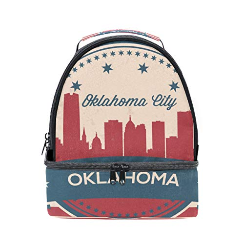 - Oklahoma City Retro Skyline Insulated Lunch Tote Bag Portable Large Capacity Backpacks School Travel Picnic Handbag Cooler Warm Lunchbox for Kids Girls Boys Teen Women Men