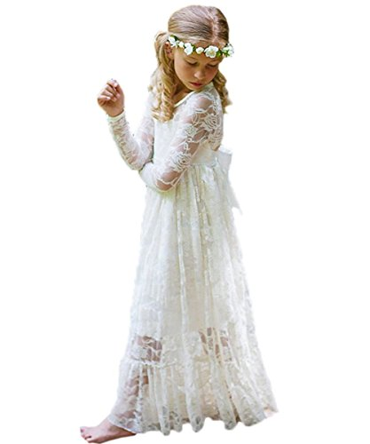 Country Girl Dress (LovelyGirl Fancy White A Line Long Sleeves Lace Country Flower Girl Dresses NB033 6 Ivory)