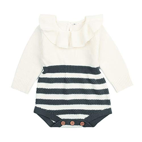 Weixinbuy Toddler Baby Girls Boys Stripe Knitted Warm Romper Bodysuit Jumpsuit Clothes Outfits