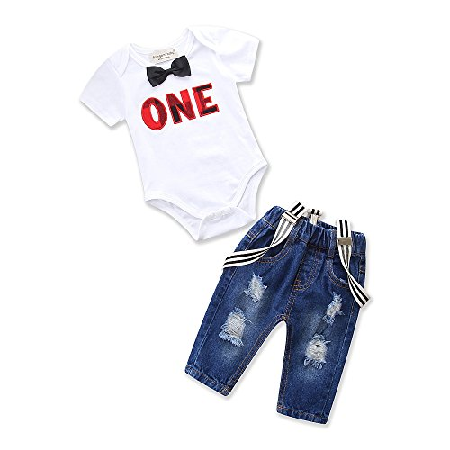 Toddler Baby Boy Clothes Set Bowtie Romper Suspenders Ripped Denim Pants Outfits (White, 90/Fit 12-18 Months) ()