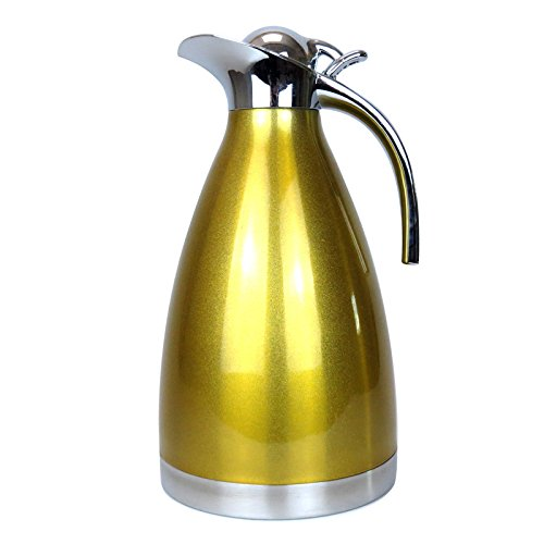 2L/1.5L Coffee Thermal Carafe -NACOLA Stainless Steel Coffee Carafe Milk Insulation Pot Water Bottle Tea Water Insulation Pot with Handle Spout, Double Vacuum Keep Hot/Cold 1.5l Vacuum Thermal Carafe