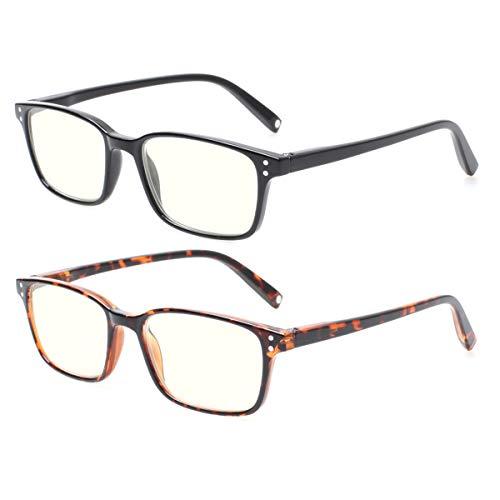 JOSCHOO 2 Pack Blue Light Blocking Glasses for Women Men lightweight Computer Games Glasses Readers (2 Mix, 2.5)
