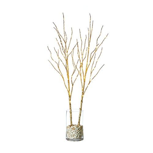 Hairui Lighted Willow Branches Golden with Fairy Lights Decor 32in 100LED, Pre lit Twig Artificial Branch Lights with Timer for Indoor Home Decoration Battery Operated 2 Pack (Vase Excluded)