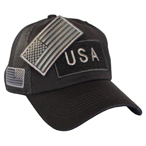 - Jig Pro Shop Black US American Flag Patch Baseball Hat Tactical Operator Military Cap