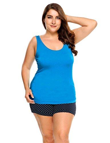 Women's Plus Size Tank Top Relaxed Flowy(Blus,XL)