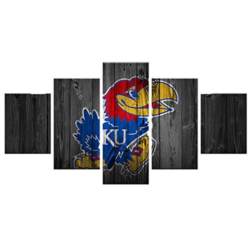 PENGDA Kansas Jayhawks Wall Art 5 Panels Modern Home Decor Painting on Canvas for Living Room