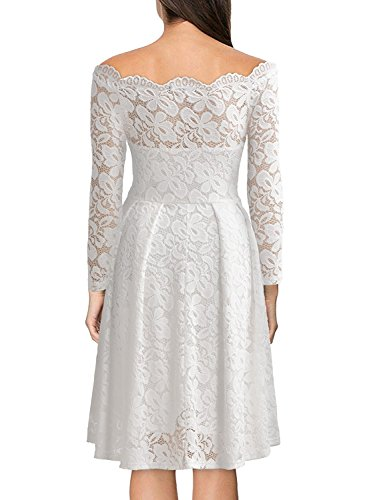 MRstriver Women's Vintage Floral Lace Long Sleeve Boat Neck Cocktail Formal Swing Dress WhiteXX-Large