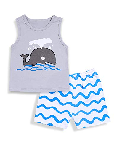 Newborn Baby Boy Clothes Sleeveless Grey Whale Tops and Wave Shorts Summer Outfits Set(18-24m/100)