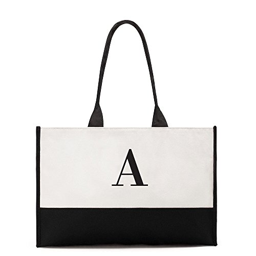 Initial First Two White and Canvas Tone Classic Bag Black Tote pvq1U1