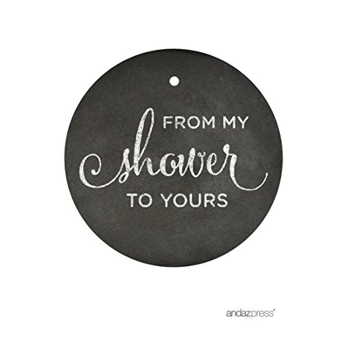 Andaz Press Baby and Bridal Wedding Shower Round Circle Party Favor Gift Tags, From My Shower to Yours, Vintage Chalkboard Print, 24-Pack -