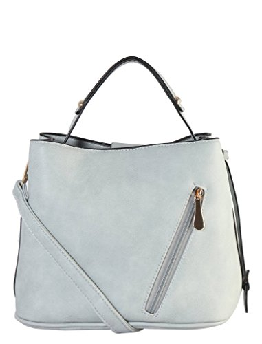 Leather Large Patent Hobo (Diophy PU Leather Multi Spaced Hobo with Sloped Zipper Pocket Womens Purse Handbag GS-3433)