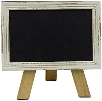 Amazon Com Mini Free Standing Wood Frame Chalkboard For Counter 6 In White Office Products