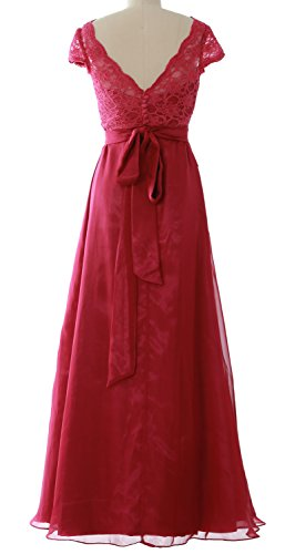 MACloth Cap Jacket Wedding Dress Party Long Bridesmaid Elegant with Sleeve Rot Gown r5qxwr1