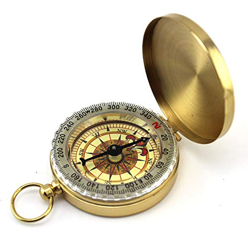 Yeefant Vintage Pocket Brass Compass Watch Style Necklace for Directions & Sailing, Outdoor Survival Navigation Compass Ring Keychain for Camping Hiking Climbing for Father's Day - Sundial Golf