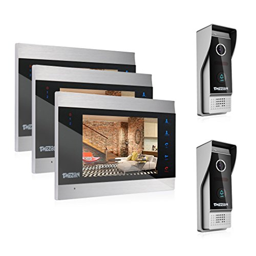Door Entry Intercom - TMEZON 7 Inch Color LCD Touch Button Video Door Phone Doorbell Intercom Entry System Kit 3-Monitor 2-Camera Night Vision,Support Recording/Snapshot