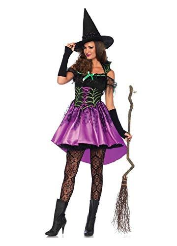 Glitter Spiderweb Witch Adult Womens Costume Black/Purple ()