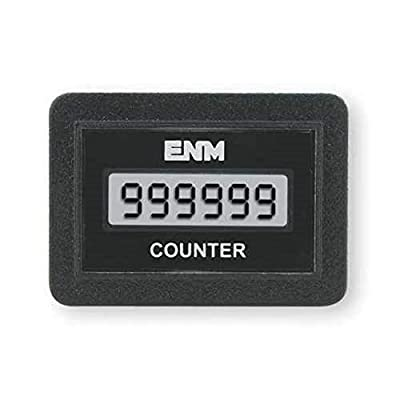 """ENM C1141AB LCD Digital Counter, Flush Rectangular, 6-digits, Non-Volatile Data Backup, 3/16-in Male Terminal Connection, 8-28 Vdc, -40 to +85 °C, Snap-in panel mount (1.45""""x0.95"""" cutout). Made in USA"""