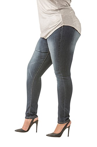 Poetic Justice Plus Size Women's Curvy Fit Medium Whiskering Blasted Skinny Jeans Size 18R x 32Length Blue