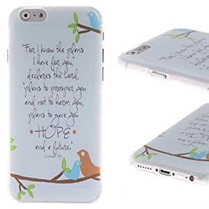 LZX Birds and English Letters Pattern PC Hard Cover for iPhone 6
