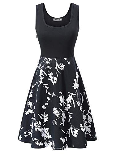 VETIOR Womens Sundress Floral Vintage Cocktail Party Dress(Black,L)