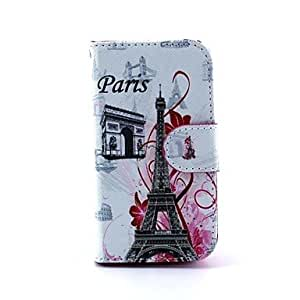 YULIN Eiffel Tower Design Full Body Case with Stand and Card Slot and Money Holder for iPhone 4/4S