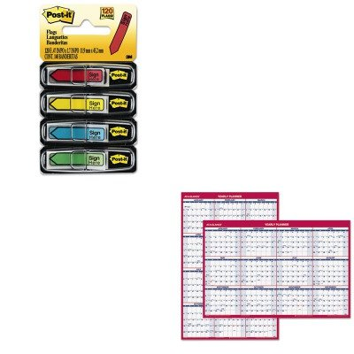 KITAAGPM21228MMM684SH - Value Kit - At-a-Glance Recycled Paper Vertical/Horizontal Wall Calendar (AAGPM21228) and Post-it Arrow Message 1/2quot; Flags (MMM684SH) ()