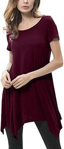 ZANZEA Women's Long Tunic Tops Short Sleeve Swing T Shirt Loose Solid Blouse