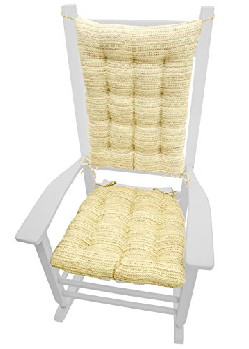 Barnett Products Rocking Chair Cushions - Brisbane Cream - Size Standard - Latex Foam Fill - Reversible (Ivory)