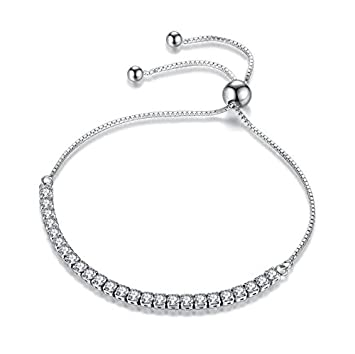 Amazon Com S925 Silver Korean Zircon Crystal Tennis Bracelet