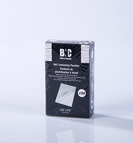 BNC Thermal Laminating Pouches, 5 Mil Thick, 100 Pack Business Card Size 2.25